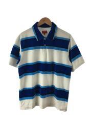 21ss/supreme stripe velour polo/ポロシャツ/M/ベロア/BLU/ストライプ