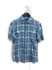 半袖シャツ/2/コットン/BLU/チェック/D1M01-200-22