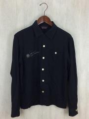 長袖オープンカラーシャツ/S/レーヨン/BLK/バック刺繍/2012AW