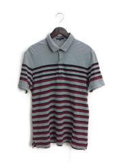 ポロシャツ/L/コットン/GRY/ボーダー/A1P23-734-15/胸ロゴ