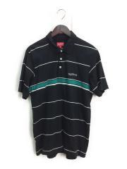 ポロシャツ/M/コットン/BLK/ボーダー/胸ロゴ