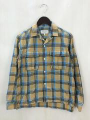 開襟長袖シャツ/S/コットン/CML/タータンチェック/両胸ポケット