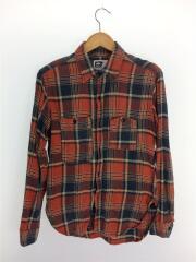 Work Shirt/ワークシャツ/S/コットン/オレンジ/チェック