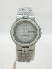 ソーラー腕時計/アナログ/ステンレス/ホワイト/シルバー