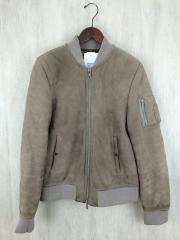 ラムレザーMA-1/M/羊革/BEG/無地/汚れ・着用感有り