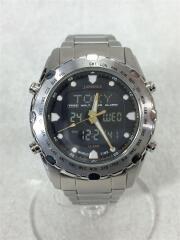 クォーツ腕時計/デジアナ/ステンレス/BLK/SLV/J.SPRINGS BAM002 /SII/セカスト
