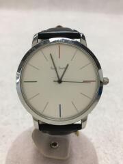 クォーツ腕時計/アナログ/レザー/文字盤シルバー/ブラック/1005/JAPANMOVEMENT