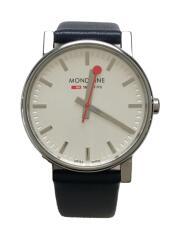 クォーツ腕時計/アナログ/レザー/文字盤カラーシルバー/ネイビー/30300