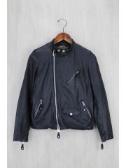 AWESOME LEATHER/シングルライダースジャケット/0/山羊革/BLK