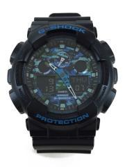 クォーツ腕時計/デジアナ/BLU/BLK