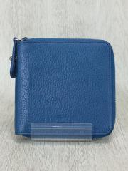 2つ折り財布/レザー/BLU/無地