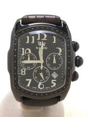 PHAT ICE/クォーツ腕時計/アナログ/レザー/ブラック