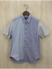 半袖シャツ/SS/コットン/BLU/ストライプ