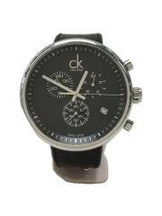 サブスタンシャル/クォーツ腕時計/アナログ/レザー/BLK/BLK/SS/K2N271