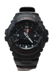 クォーツ腕時計/アナログ/ラバー/BLK/BLK/G-100