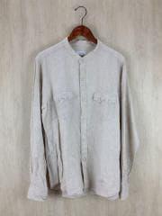 バンドカラーリネンウエスタンシャツ/XL/リネン/CRM