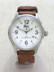 クォーツ腕時計/アナログ/レザー/WHT/CML