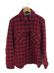 長袖シャツ/L/ウール/RED/チェック/CPOシャツジャケット