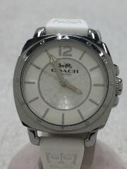 クォーツ腕時計/アナログ/ラバー/SLV/WHT