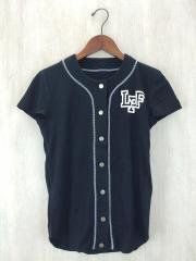 カットソー/S/コットン/BLK/ベースボールTシャツ