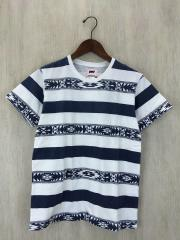 Tシャツ/S/コットン/WHT/ボーダー/ラフィ天竺T/NATIVE BORDER/TCS-S15SP01