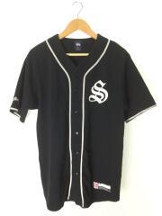 ベースボールシャツ/L/コットン/BLK/ブラック/プリント/ノーカラー