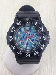 クォーツ腕時計/アナログ/BLU/BLK
