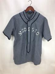 ベースボールシャツ/半袖シャツ/L/コットン/グレー/メンズ/中古