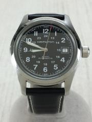 カーキ/H704450/自動巻腕時計/アナログ/レザー/BLK/BLK/中古