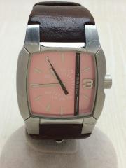 クォーツ腕時計/アナログ/レザー/PNK/BRW