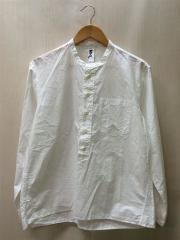 COTTON RAMIE POPLINプルオーバーバンドカラーシャツ/S/コットン/WHT/596-715051