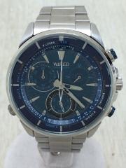 クォーツ腕時計/アナログ/BLU/SLV