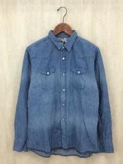 長袖シャツ/デニムシャツ/ウエスタンシャツ/48/コットン/ブルー/ライトブルー