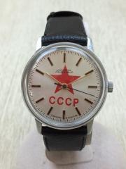 CCCP/クォーツ腕時計/アナログ/レザー/BLK