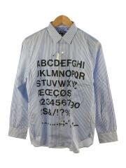 長袖シャツ/XS/コットン/BLU/ストライプ/WG-B007/AD2020