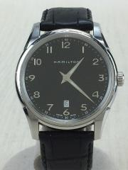クォーツ腕時計/アナログ/レザー/BLK/ベルト使用感有