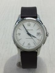 自動巻腕時計/アナログ/レザー/WHT/BRW