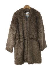 コート/S/アクリル/ベージュ/19AW/V Neck Coat-Acrylic Fur