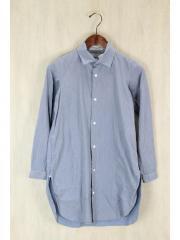スナップボタン/ロングシャツ/長袖ワンピース/--/コットン/GRY/ストライプ