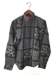 20SS/Paisley Grid Shirt/長袖シャツ/M/コットン/BLK/ペーズリー