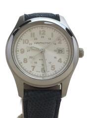 H722110/クォーツ腕時計/アナログ/レザー/革/白/ホワイト/青/ブルー