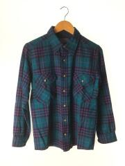 ボックスネルシャツ/L/ウール/グリーン/緑/チェック