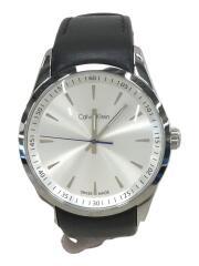 カルバンクライン/K5A 311クォーツ腕時計/アナログ/レザー/WHT/BLK