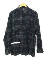 HUMIS ヒューミス/M-SH1301/ケミカルフライフロントシャツ/チェック/ブラック/日本製/M/コットン
