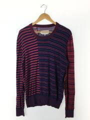 セーター(薄手)/XL/ウール/NVY/ボーダー