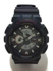 クォーツ腕時計/デジアナ/ラバー/BLK/BLK