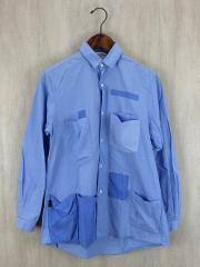 PORTERコラボ/ポケットシャツ/長袖シャツ/0/コットン/BLU