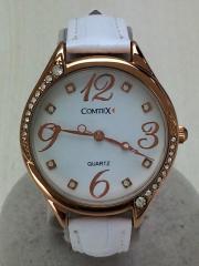 クォーツ腕時計/アナログ/レザー/WHT/COMTEX/箱有