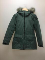 中綿ファー付きコート/L/ナイロン/セージグリーン/レディース/BQ6804