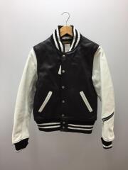 別注レザーアワードジャケット/S/レザー/ブラック×ホワイト/袖に汚れあり